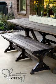 Dining Table And 2 Benches Diy Bench Farmhouse Style Shanty 2 Chic