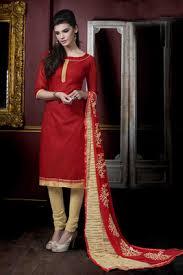 buy red plain jute silk unstitched churidar dress materials online