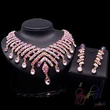 pink rhinestone necklace images Heavy indian bridal jewelry sets pink rhinestone jewelry set nice jpg