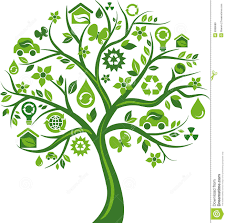 green tree with many environmental icons stock vector image 9998688