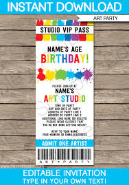 art party ticket invitations paint party template