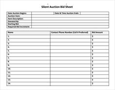 Bid Sheets For Silent Auction Template Silent Auction Template Free Thebridgesummit Co