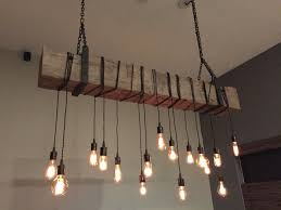 Rustic Light Fixtures Chandelier With Wooden Wrought Iron