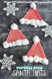 popsicle stick santa hats kid craft popsicles crafts and kids