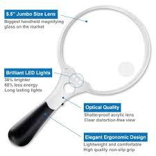 large magnifying glass with light fancii jumbo led lighted magnifying glass 2x 4x 10x fancii co