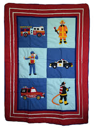 minecraft police car rescue heroes fire truck police car toddler crib bedding 4pc