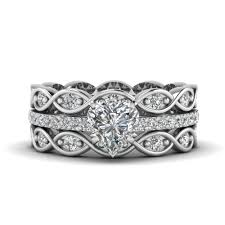 Heart Shaped Wedding Rings by Milgrain Heart Diamond Ring With Matching Wave Band In White Gold