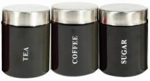 set of 3 black tea coffee sugar kitchen storage canisters jars