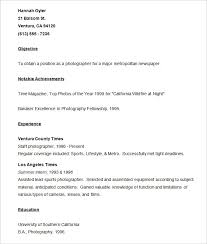 Photographer Resume Format Resume Templates U2013 127 Free Samples Examples U0026 Format Download
