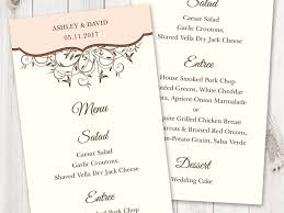 printable wedding menu template spring vines peach color diy