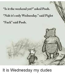 Wednesday Meme Funny - is it the weekend yet asked pooh nah it s only wednesday said