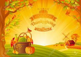 thanksgiving day vector illustration beautiful autumn landscape