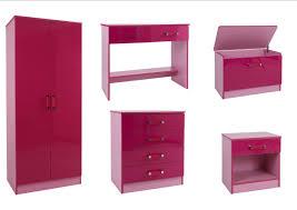 high gloss pink 5 piece girls bedroom furniture set