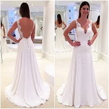 a line wedding dress new style wedding dress v neck backless tank sleeves with lace