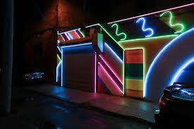 led lights up a dodgy alley in philadelphia