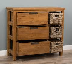 Chest Of Drawers With Wicker Drawers Reclaimed Teak Storage Unit Storage Chest With 3 Drawers Plus 3