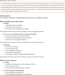 debriefing report template full text confident but not theoretically grounded experienced figure s1 interview guide concerning experienced simulation educators changes in teaching skills practices and understanding of learning