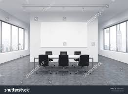 Big White Boards Spacious Meeting Room Office Building Windows Stock Illustration