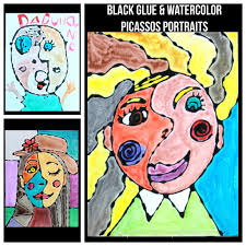 black glue and watercolor picasso portraits u2013 the pinterested parent