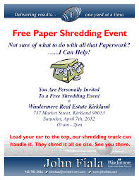 where to shred papers for free free paper shredding event kirkland saturday 10 to 2 presented