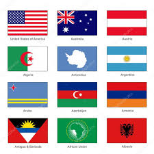 Flag Of Antigua World Flags Set Name Country Of Letter A Vector U2014 Stock Vector