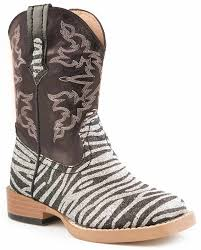 s boots with bling kid s bling zebra square toe cowboy boots black
