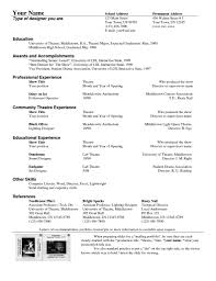 Resume Sample Vice President by Musical Theatre Resume Template