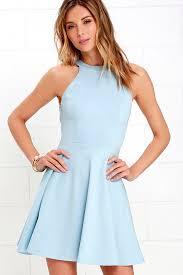 light blue dress light blue dress skater dress backless dress 52 00