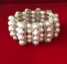 pearl bracelet elastic images Faux pearl rhinestone layered stretch bracelet 4u prom bridal jpg