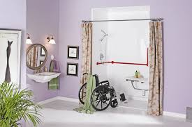 Wheelchair Accessible Handicap Bathroom Design With Pink Earth - Bathroom designs for handicapped