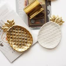 17x13x2 5cm gold plated pineapple ceramic storage plate snack