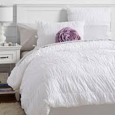 Gray White Duvet Cover Ruched Duvet Cover Sham Pbteen