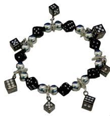 black bead charm bracelet images Black silver dice charm bracelet gif