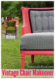 pink u0026 houndstooth vintage chair makeover roadside rescue