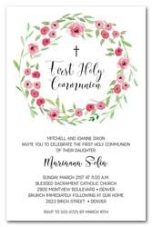 communion invitations for girl pink bud wreath holy communion invitations