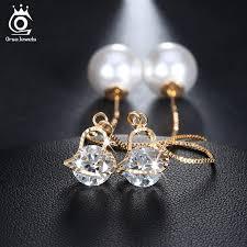 big stud earrings orsa jewels heart shape austrian stud earrings with