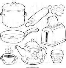 Kitchen Sink Clip Art Vector Cartoon Clip Art Of Black And White Foods And Kitchen Items