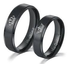 steel promise rings images King and queen stainless steel black promise rings k and d apparel jpg