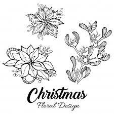 fiori disegni disegni disegnati a mano di fiori di natale scaricare vettori