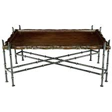 Metal Glass Coffee Table Gold Metal Glass Faux Bamboo Chinese Chippendale Style Rectangular
