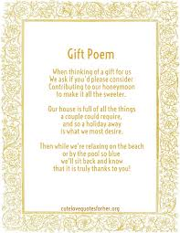 wedding gift poems honeymoon poems to and to asking for money