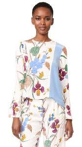 dvf blouse diane furstenberg sleeve side slit blouse in ampere ivory