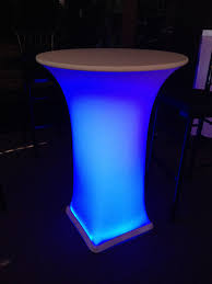 Led Bistro Table 30 Cocktail Table With White Spandex Cover Led Light A1