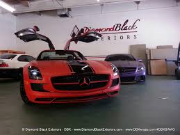 black diamond benz mercedes benz sls63 wrapped in ultra matte red by dbx u2013 2013 wrap
