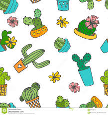 cute doodle cactus and flowers in a pots stock illustration