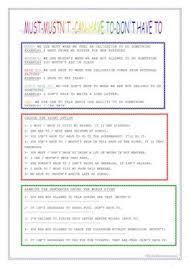 15 free esl must mustn u0027t worksheets