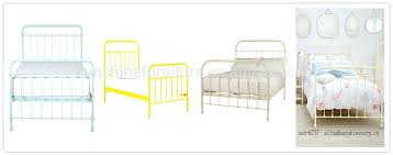 yellow metal bed frame modern simple design style wooden slats