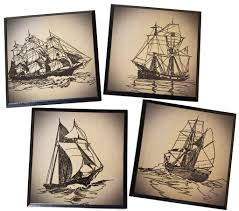 Unique Coasters Coasters Set Of 4 Gorgeous Unique Vintage Sailboat Coasters