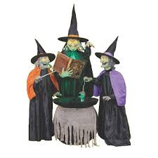 illuminated halloween decorations home accents holiday 75 in mischievous witch sisters 5124441
