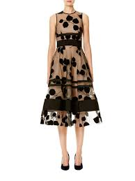 carolina herrera leaf embroidered flocked velvet dress in black